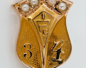 Vintage 1930's 10k Yellow Gold UPC 34 Lapel Pin w/ Seed Pearls