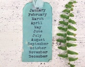 """Handmade Tags """"Months of the Year""""/Shabby Chic Tags/Robin Egg Blue/Organization/Distressed Tags"""