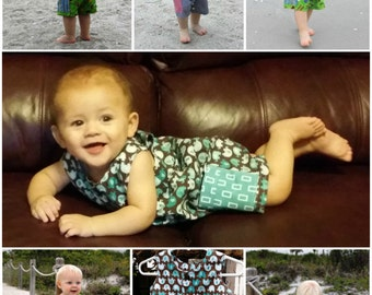 SEW SNAPPY Baby Boy Romper PDF Pattern in sizes 3 months - 24 Months Easy Beginner Sewing Pattern