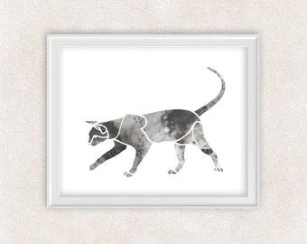 Cat Watercolor Print - Cat Lover Art Print - Gray Cat - Home Decor 8x10 PRINT - Item #711A