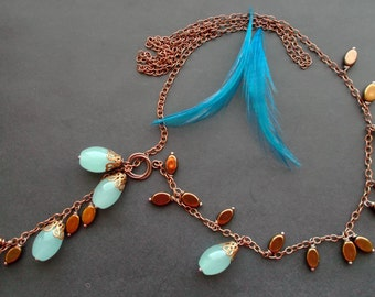 necklace lariat. Necklace with pendant. necklace asymmetric. GLASS  BEADS Czech. copper details. copper chain