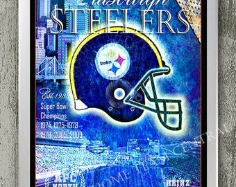 Pittsburgh Steelers art print with city skyline & stadium. Perfect birthday gift for Steelers man cave or boys room decor! Size 11x16 inches