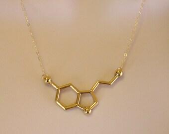 24K Gold Serotonin Molecule Necklace, Chemistry Necklace, Hormone Serotonin, Biochemistry Molecule Happiness Signal Pendant Biology