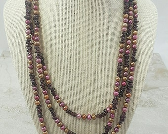 Genuine Freshwater Pearl & Garnet Necklace