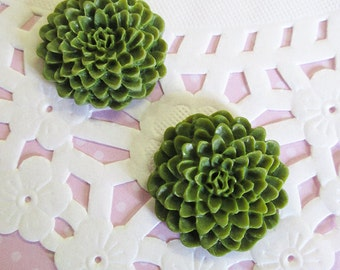 Olive Green 25mm Flower Cabochons, Chrysanthemum Cabs, E254