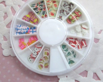 Assorted Polymer Clay Holiday Slices, Christmas Nail Art Wheel, Over 120 pieces