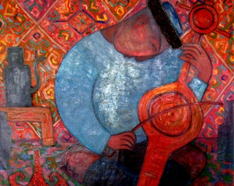 """Original Abstract painting""""Musician"""" from artist N.Jholbunov."""