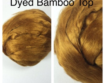 Dyed Bamboo Top Topaz / Dyed Bamboo Roving Gold / 2oz 4oz 8oz