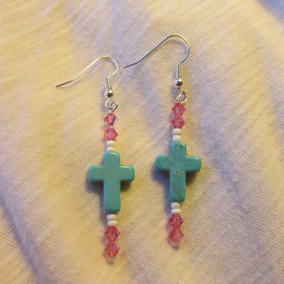 blue turquoise cross earrings with and faceted pink