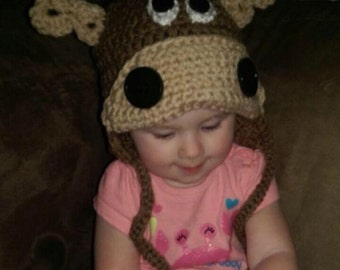 Crochet Moose hat for baby or toddler child baby hat moose hat animal hat