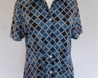 Vintage shirt blouse by St Bernard blue graphic pattern shirt size UK 12 14 medium large