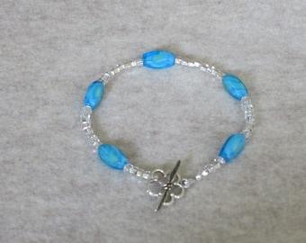 Aqua Blue Glass Bead Bracelet