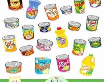 Canned goods  clipart,digital illustration , web graphic , instant download