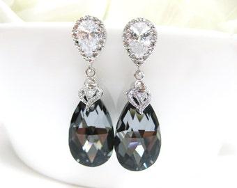 Silver Night Black Swarovski Crystal Tear Drop Earrings Wedding Bridesmaid Earrings Bridal Jewelry Sterling Silver Ear Posts (E015)