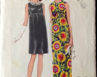 Butterick 4734 - 1960s Slim Empire Dress in Evening or Street Length - Size 10