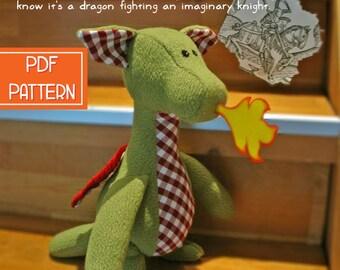 Dragon Plush Pattern, PDF Toy Sewing Pattern, Softie Pattern, Stuffed Animal Sewing Pattern, Soft Toy PDF Sewing Patterns, Dragon Plushie