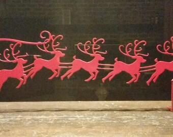 Metal Santa with Reindeer Home Decoration