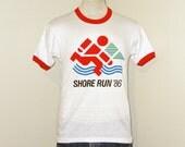Vintage Deadstock 1986 SHORE Run Graphic RINGER Men Small White Athletic Hanes 50/50 T-Shirt