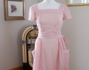 Pretty Vintage 1950s Handmade Red and White Stripped  Dress.