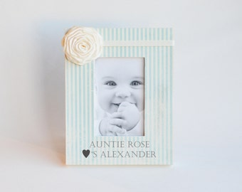 Custom Picture Frame Aunt Personalized Gift Idea Names Auntie Loves New Baby Newborn Nephew Nursery Boy Blue Room Decor Decoration Shower