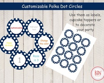 INSTANT DOWNLOAD 2 inch blue and white polka dot customizable  round cupcake toppers, favor or product labels