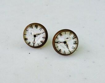 Clock Post Earrings. Antique Bronze Stud Earrings. Ear stud. (#017)