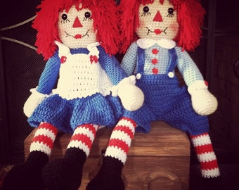 Crocheted Raggedy Ann and Andy
