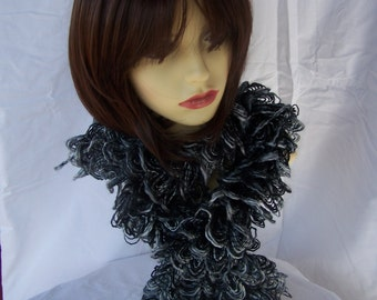 Hand Knitted Black, Grey And White Frilly Scarf