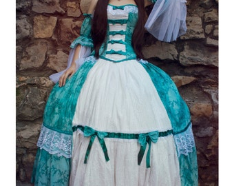 turquise princess dress (corset - skirt - sleeves)