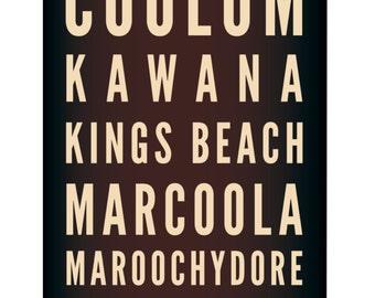 Tram Scroll / Bus Scroll - featuring beaches of Sunshine Coast, Queensland.