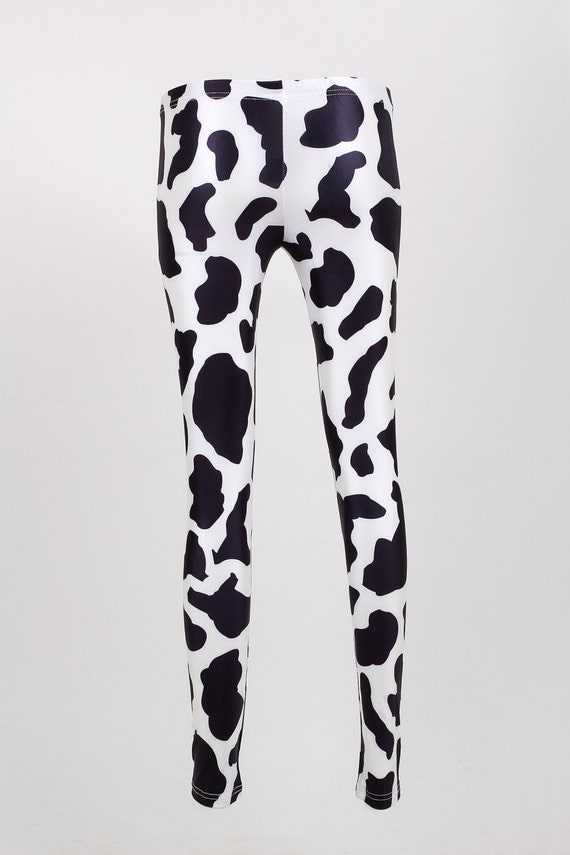 4b911caf89b3f5 THE COW SPOT LEGGINGS BLACK AND WHITE FABRIC PRINT TIGHTS COW SKIN PRINTED  LEGGINGS on The Hunt