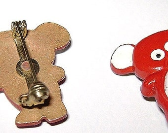 RED BEAR-Orsetto red enameled metal pins-lot 5 70s mini new