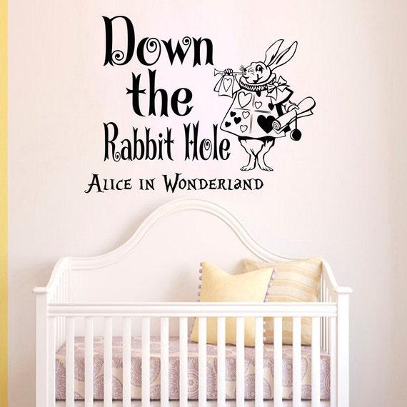 wandtattoo zitate alice im wunderland kaninchen loch spr che. Black Bedroom Furniture Sets. Home Design Ideas