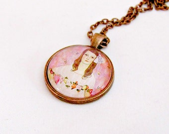 Art Pendant Necklace, Pendant Necklace, Pink Art Pendant, Glass Cabochon, Glass Dome Pendant, Antique Copper Necklace,  Gift for Her
