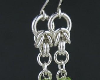 Peridot Chainmail Earrings, Moonstone Chain Earrings, Gray Stone Jewelry, Peridot Jewelry, Green Stone Earrings, Chain Link Gemstone Earring