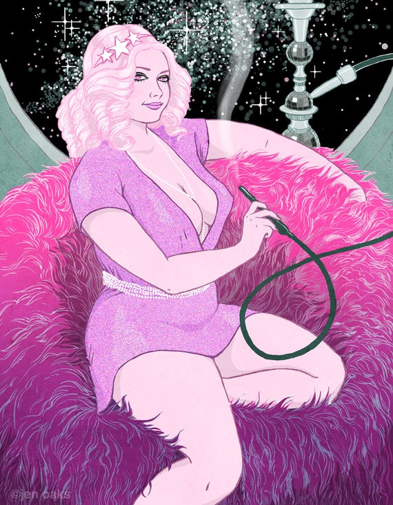 Curvy Pinup - 8x10 art print / fat, bbw, body positive, sexy sci-fi pink disco hair, smoking hookah in space