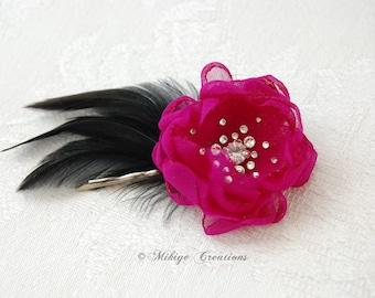 Bridesmaid Hair Flower - Flower Girl Hair Flowers -  Wedding Bridal Mini Fuchsia Feather Hair Flower Bobby Pins