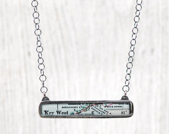 CUSTOM Antique Map Landscape Pendant Recycled Silver on Sterling Circles Chain