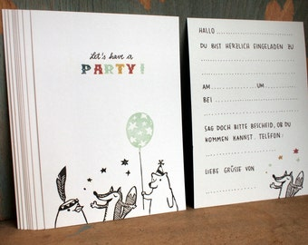 8 Invitation cards - Let's have a PARTY - 100% ECO