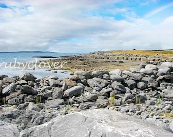 The BURREN, Co. CLARE, Irish Rainbow, West Coast Landscape Photo, National Park, Ballyvaughan, Megalithic, Galway Bay,IRELAND,Irish Gift