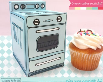 retro oven -  cupcake box, cookie, candy, treat and party favor box, gift card holder, paper printable PDF kit - INSTANT download