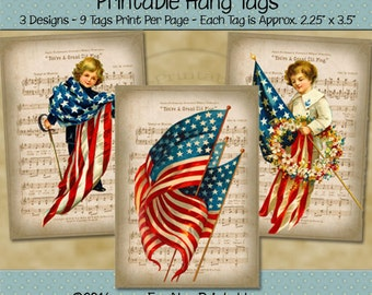 Patriotic Grand Old Flag July 4th Printable Hang Tags - Independence Day, Memorial Day - Red, White, Blue  - Digital PDF or JPG File
