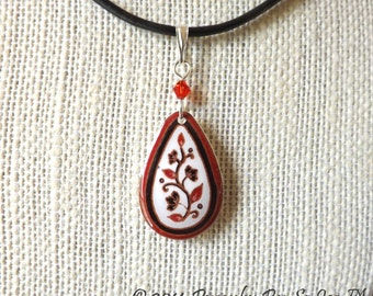 ECO Red & White Spring Vines Eggshell  Pysanky Batik  Teardrop Pendant Necklace