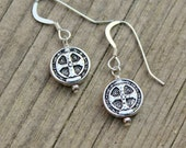 Silver Coin Earrings, St. Benedict Medal Antique Vintage Religious Silver, Coin Jewelry, Gift, STERLING SILVER Earring Hook, Coin Earrings
