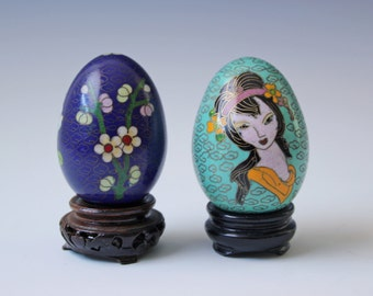 pair of vintage cloisonne enameled eggs with wood stand teal and blue floral