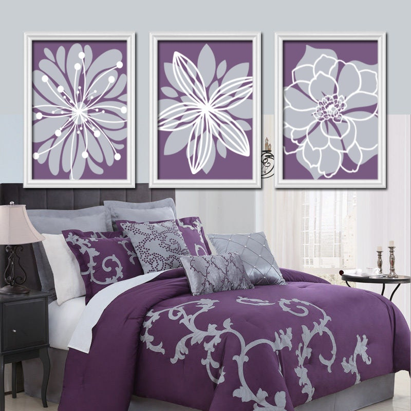 Bedroom Wall Art Grey: Purple Flower Wall Art Flower Burst Baby Girl Nursery Wall
