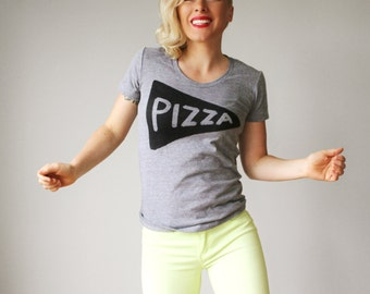Women's Grey Pizza Tshirt, back to school shirt, graphic tee, gift for women, funny tshirt, gift for her, teen, pizza lover, foodie