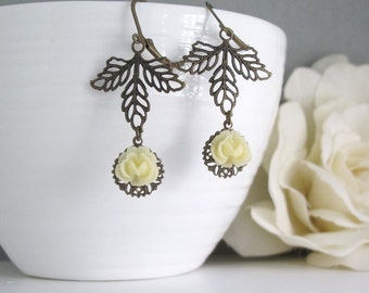Cream Rose Earrings. Nature Woodlands Inspired Antiqued Brass Leaf Floral Ear Accessory. Antiqued Brass Jewelry. Dangle Drop Earrings