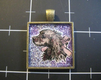 Cocker Spaniel Pendant, Dark Coated Dog with A Pretty Pink Bow, Springer Spaniel, 50% goes to the current selected animal charity