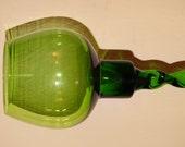 Vintage Hand Blown Avocado Green Glass Candle Holder, Mid Century Atomic Green, Glass Vase, Bookshelf Decor